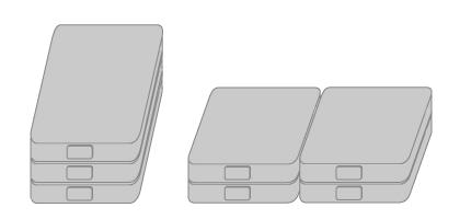 形状と直並列に応じた角型リチウムイオン電池の配列
