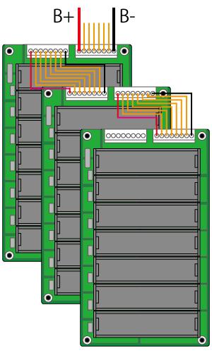 バッテリー開発基板の並列接続